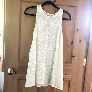 UO White Embroidered Lace Mini Swing Dress